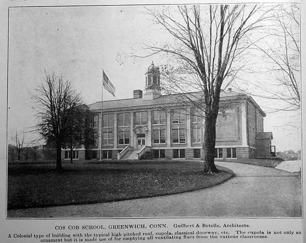 Black and white postcard of Cos Cob School building