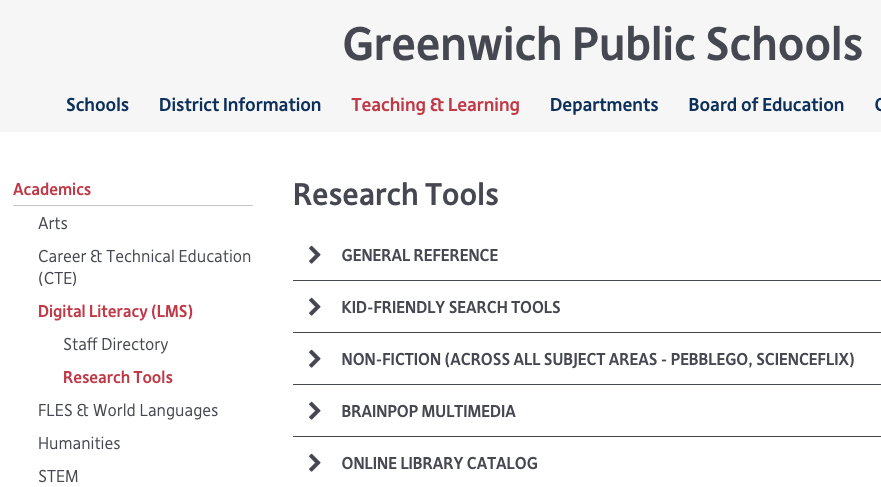 Screenshot of GPS Research Tools Page