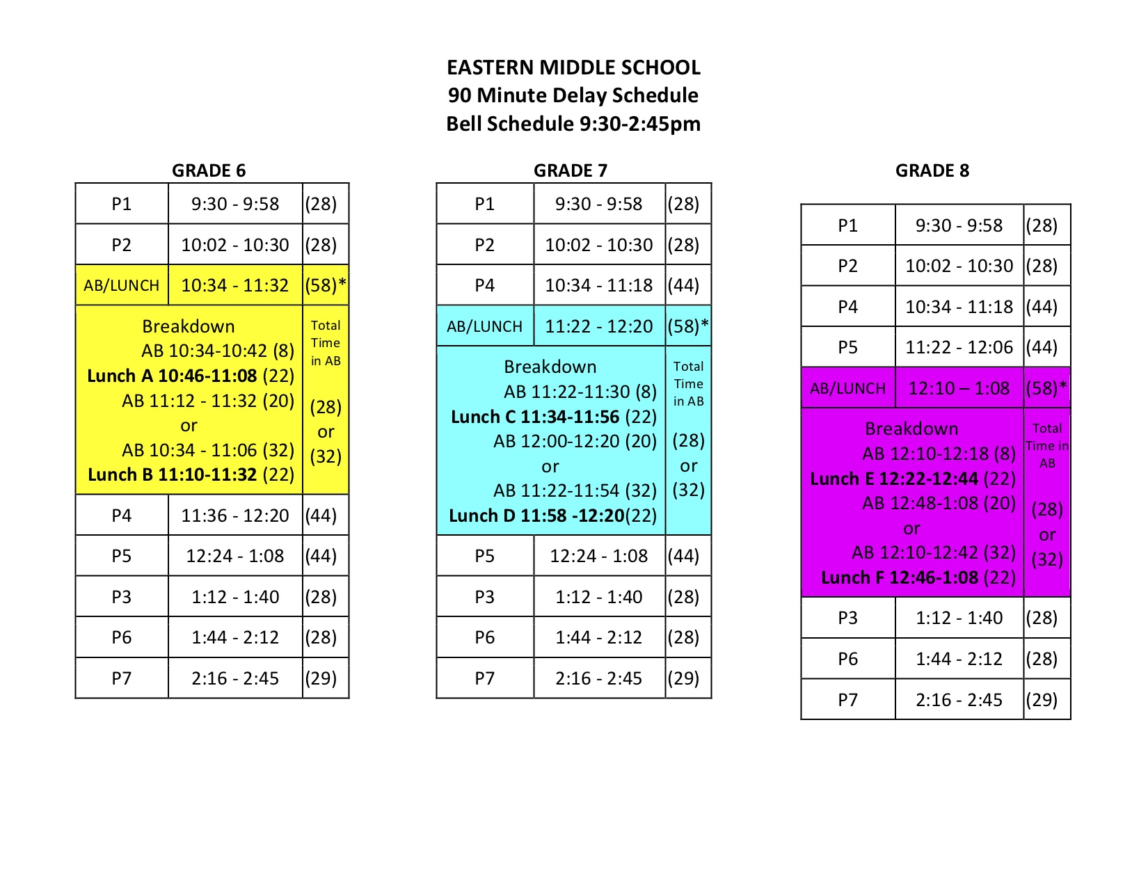 EMS 2018-19 90 Minute Delay Schedule