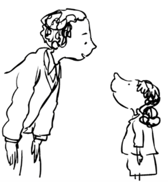 black and white clip are of a child looking up to an adult