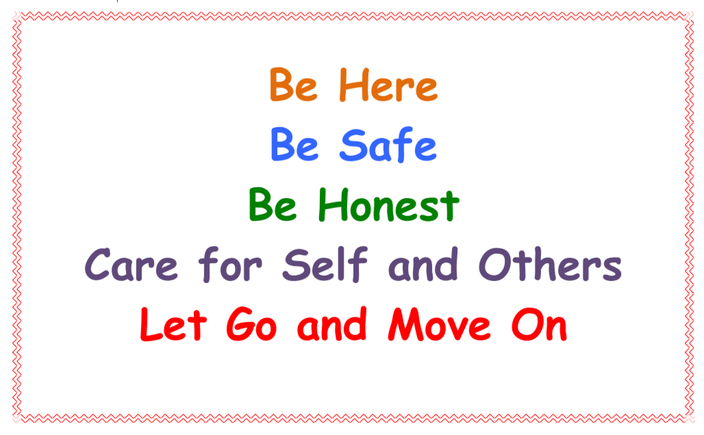 Safe school poster - text reads - Be Here Be Safe Be Honest Care for Self and Others Let Go and Move On