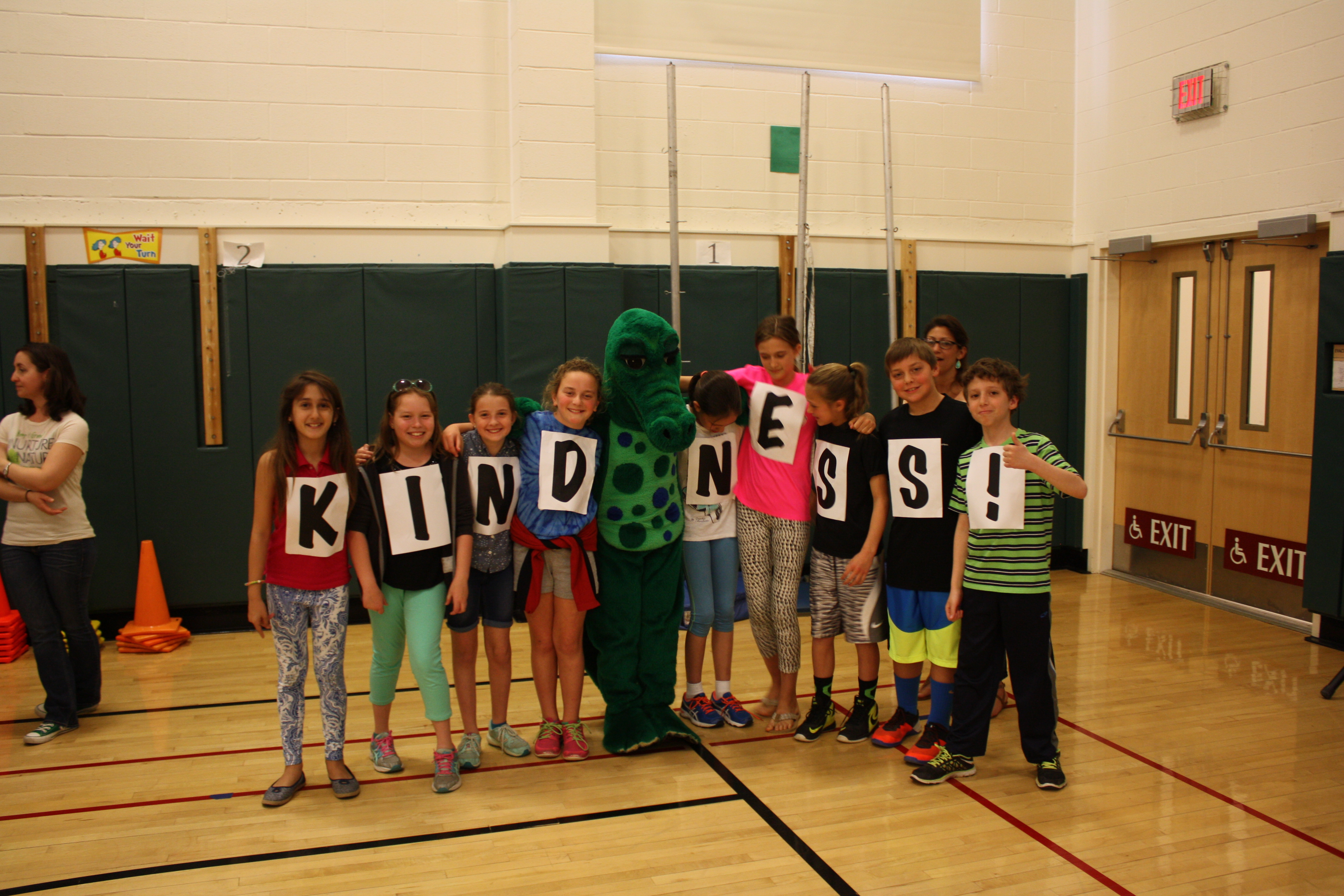 The Kindness Crusaders with Snappy, the school mascot