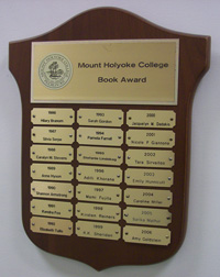 Picture of the Mount Holyoke College Book Award plaque