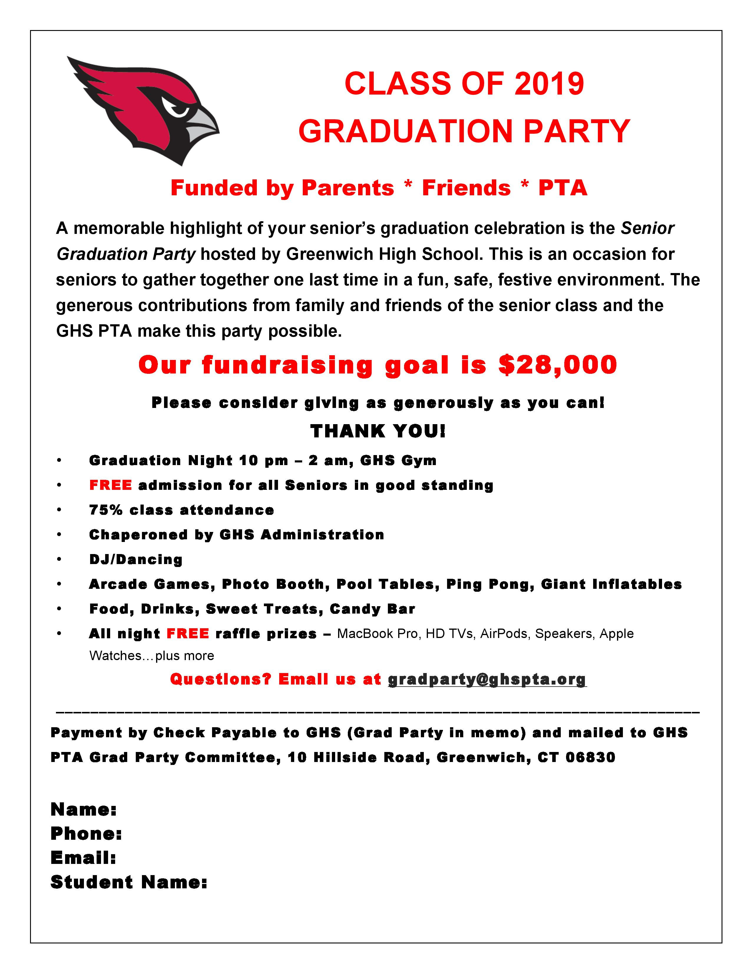 Class of 2019 Graduation Party Donation