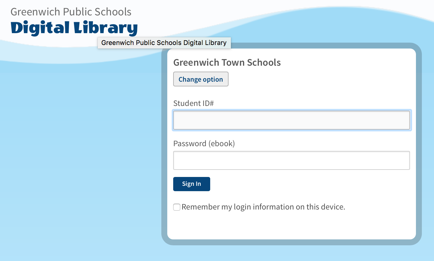 screenshot of the homepage for the Greenwich Public Schools Digital Library