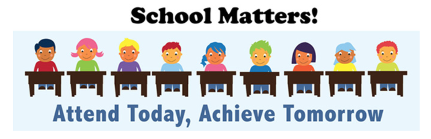 clip art of children sitting at desks, text reads - school matters! attend today, achieve tomorrow