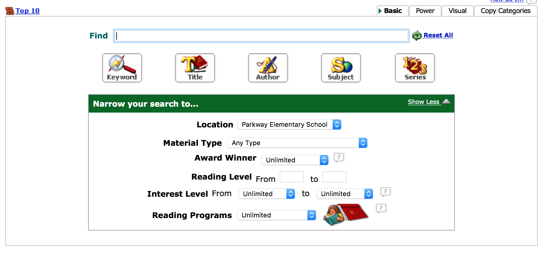screenshot of the home page to the Follett bookshelf log in page
