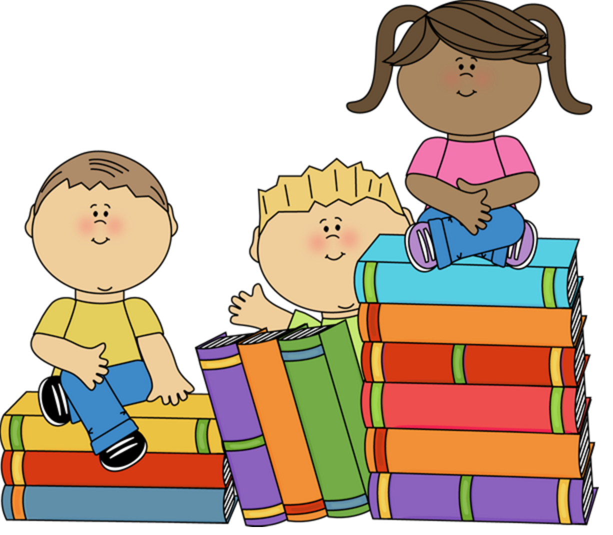 clip art of children sitting on top of piles of books