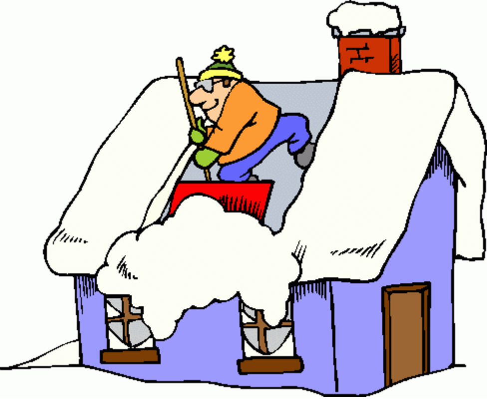 clip art of a man with a shovel standing on the top of a snow covered house