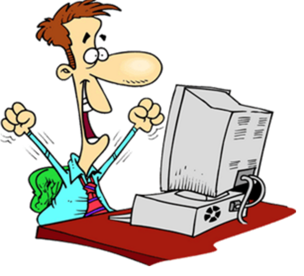 clip art of a cartoon man sitting in front of a computer with his hands in the air, cheering